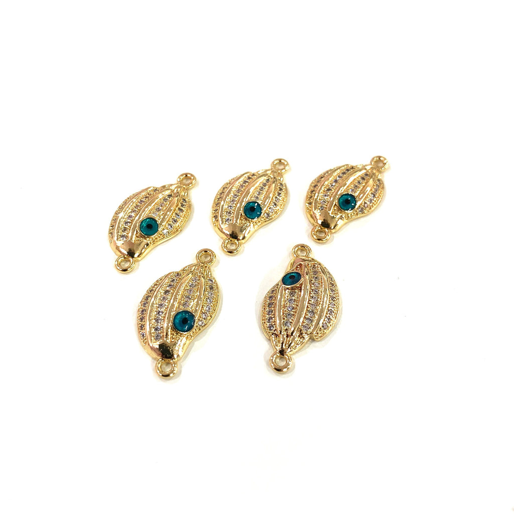 Sea Shell High Quality Zirconia 22Kt Gold Plated Charms, Zirconia Connector Charms,
