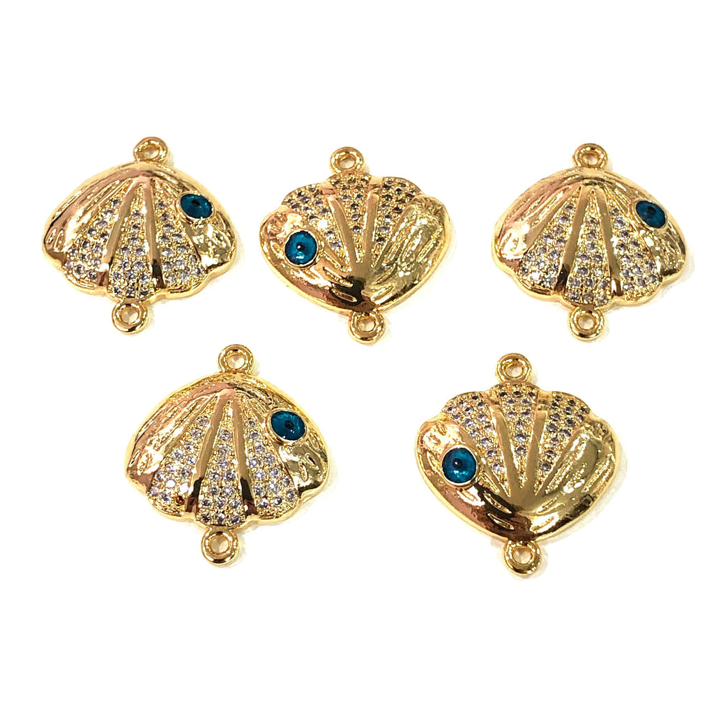 Oyster  High Quality Zirconia 22Kt Gold Plated Charms, Zirconia Connector Charms,