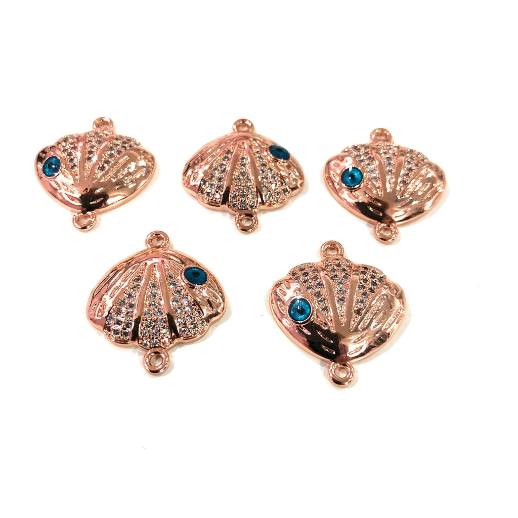 Oyster  High Quality Zirconia Rose Gold Plated Charms, Zirconia Connector Charms,