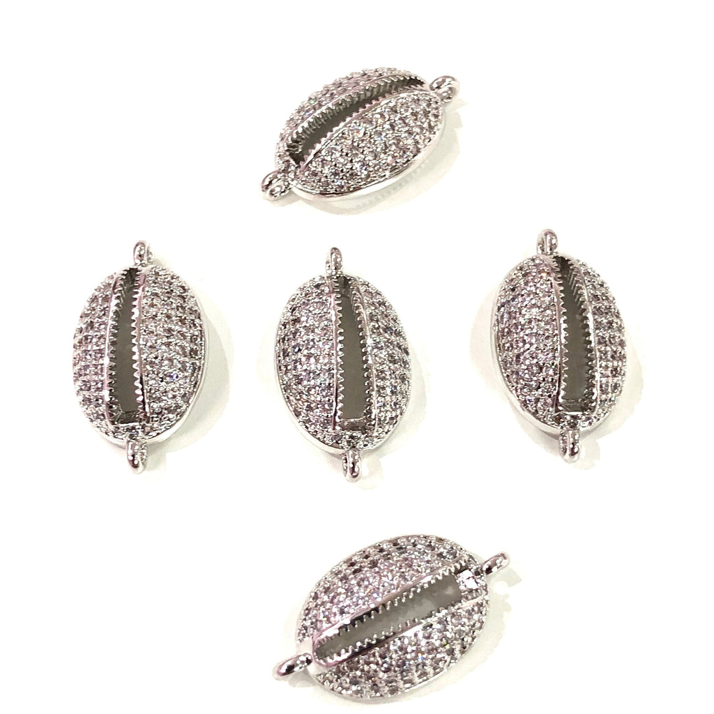Cowrie Shell  High Quality Zirconia Silver Plated Charms, Zirconia Connector Charms,