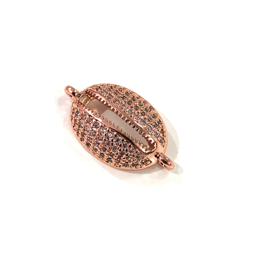 Cowrie Shell  High Quality Zirconia Rose Gold Plated Charms, Zirconia Connector Charms,
