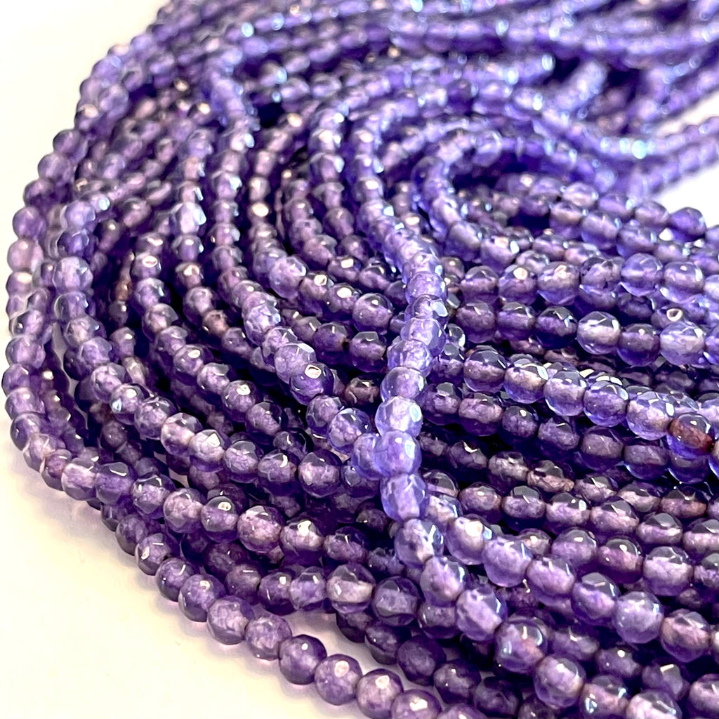 4mm Amethyst Jade Faceted Round Gemstone Beads, 90 Beads