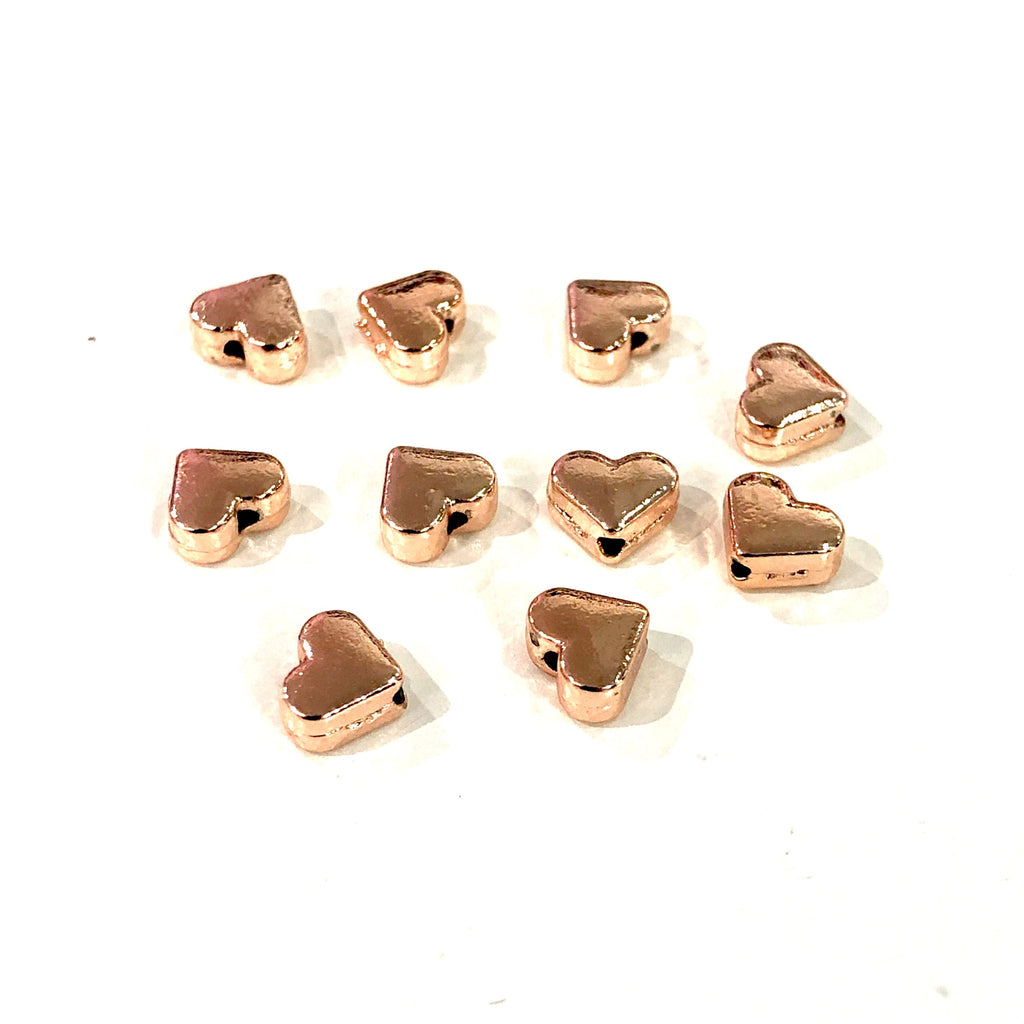 Rose Gold Heart Charms 6mm , 6mm Rose Gold Plated Spacer Heart