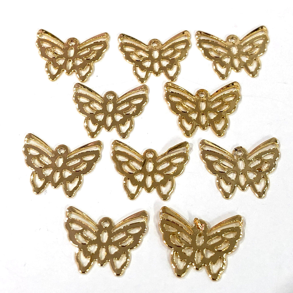 Gold  Butterfly  Charms, Gold  Plated Brass Butterfly  Pendants, Gold  Lucky Charms