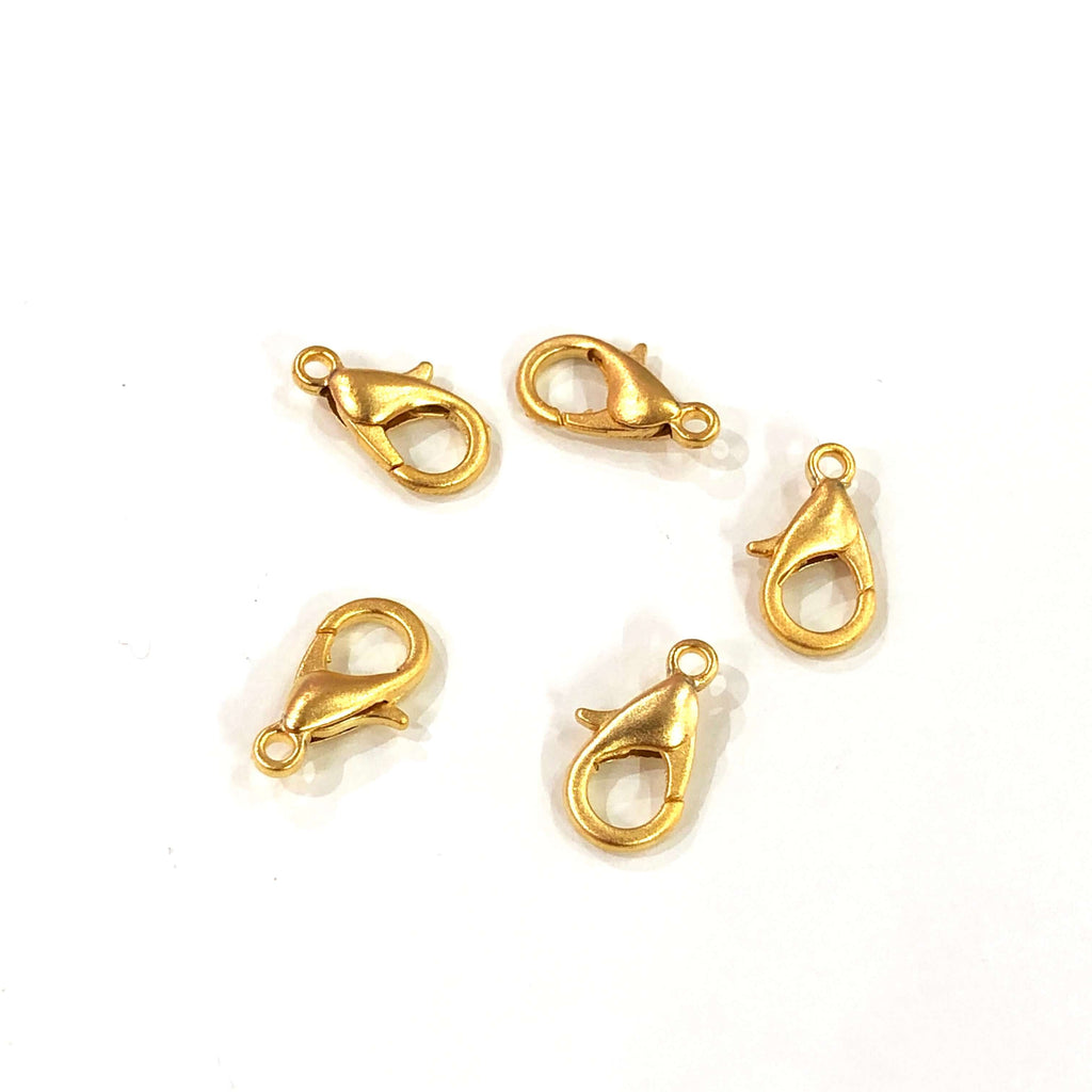22K Matte Gold Plated Lobster Clasps, (12mm x 7mm) 502 Brass Lobster Claw Clasp,