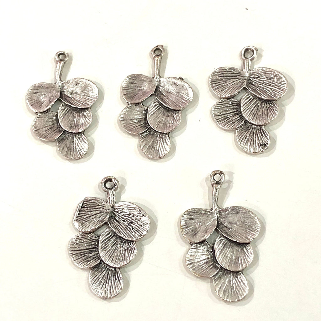 Silver Plated 30mm Brass Leaf Charms,  5 pcs in a pack