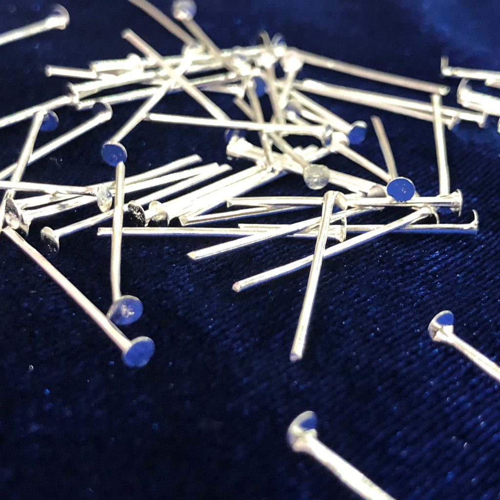 Shiny Bright Silver Plated Head pins, 0.8mm by 30mm, Silver Head  Pins 30mm