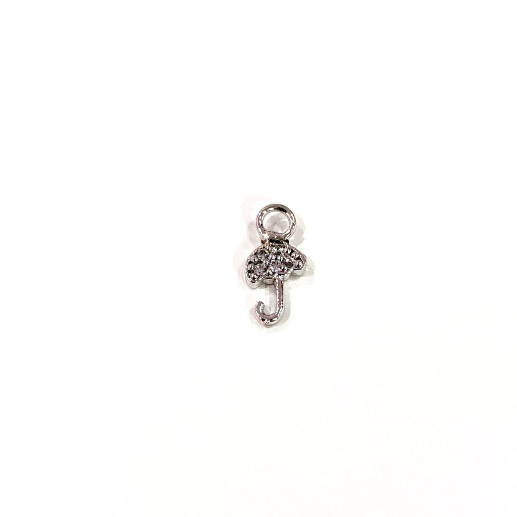Umbrella Zirconia Charm, Silver Plated Zirconia Umbrella Charm