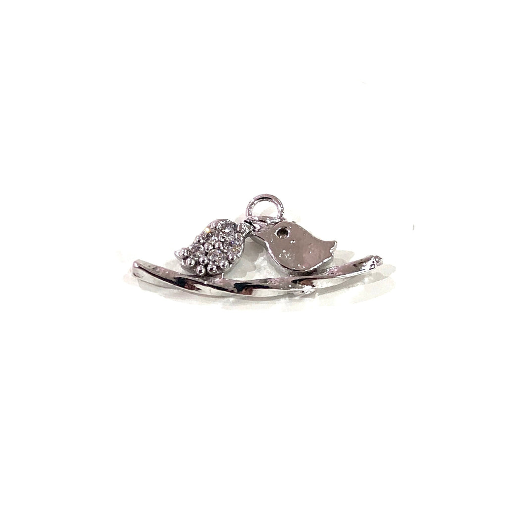 Love Birds Charm, Silver Plated Zirconia Love Birds Charm