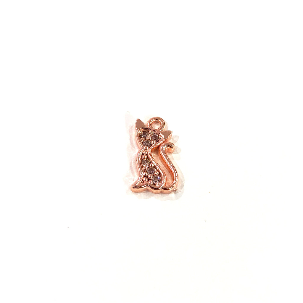 Cat  Charm, Rose Gold Plated Zirconia Cat Charm
