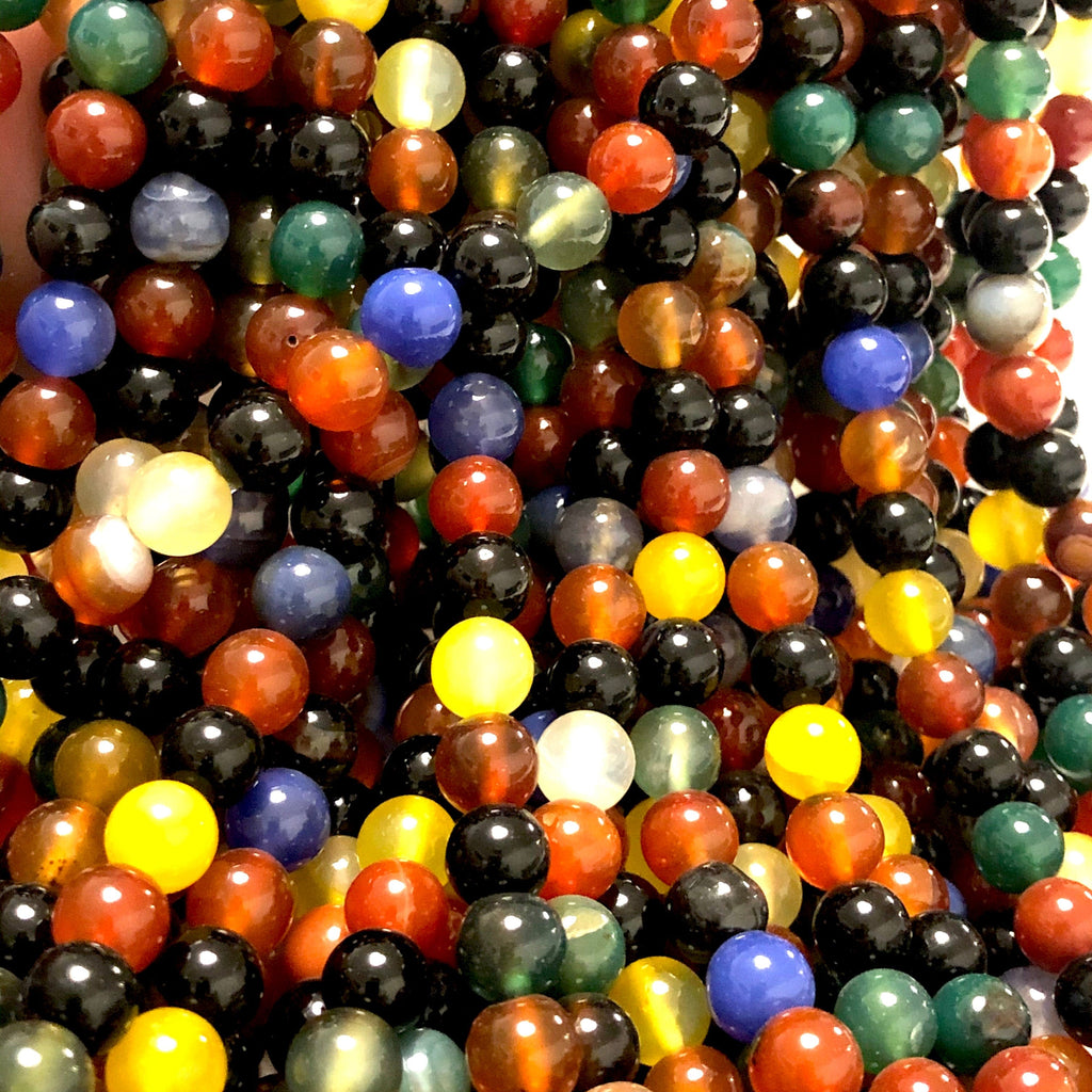 Agate Gemstone Beads, Multicolor Agate 8mm Smooth Round Beads
