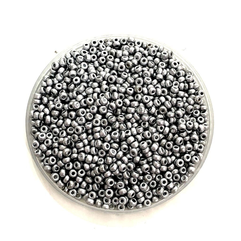 Preciosa  Seed Beads 8/0 Rocailles-Round Hole-20 Gr,01700M Matted Soft Silver
