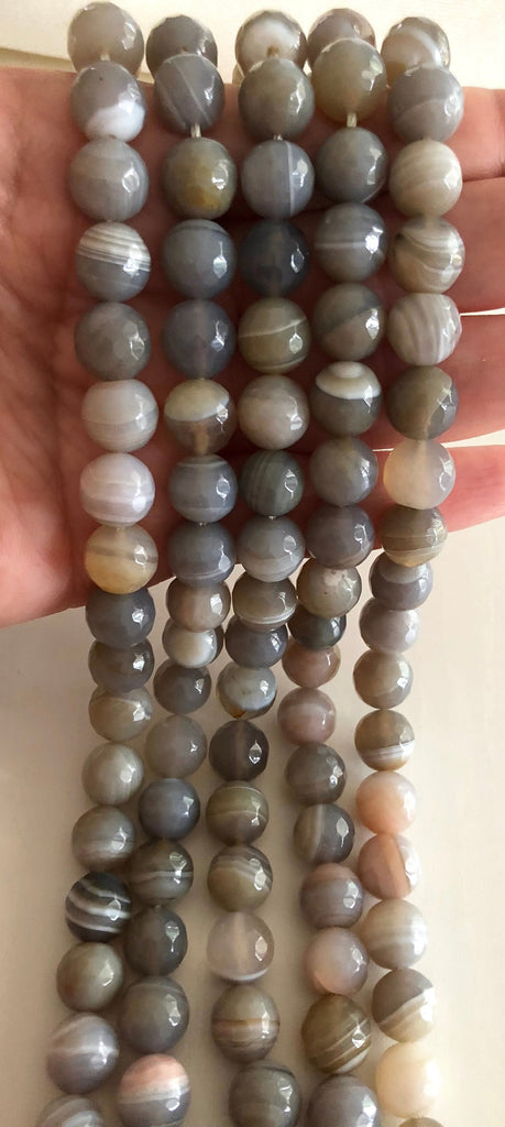 Grey Agate faceted 10mm, 38 beads per strand,Beads,Gemstone Beads,Natural Gemstone