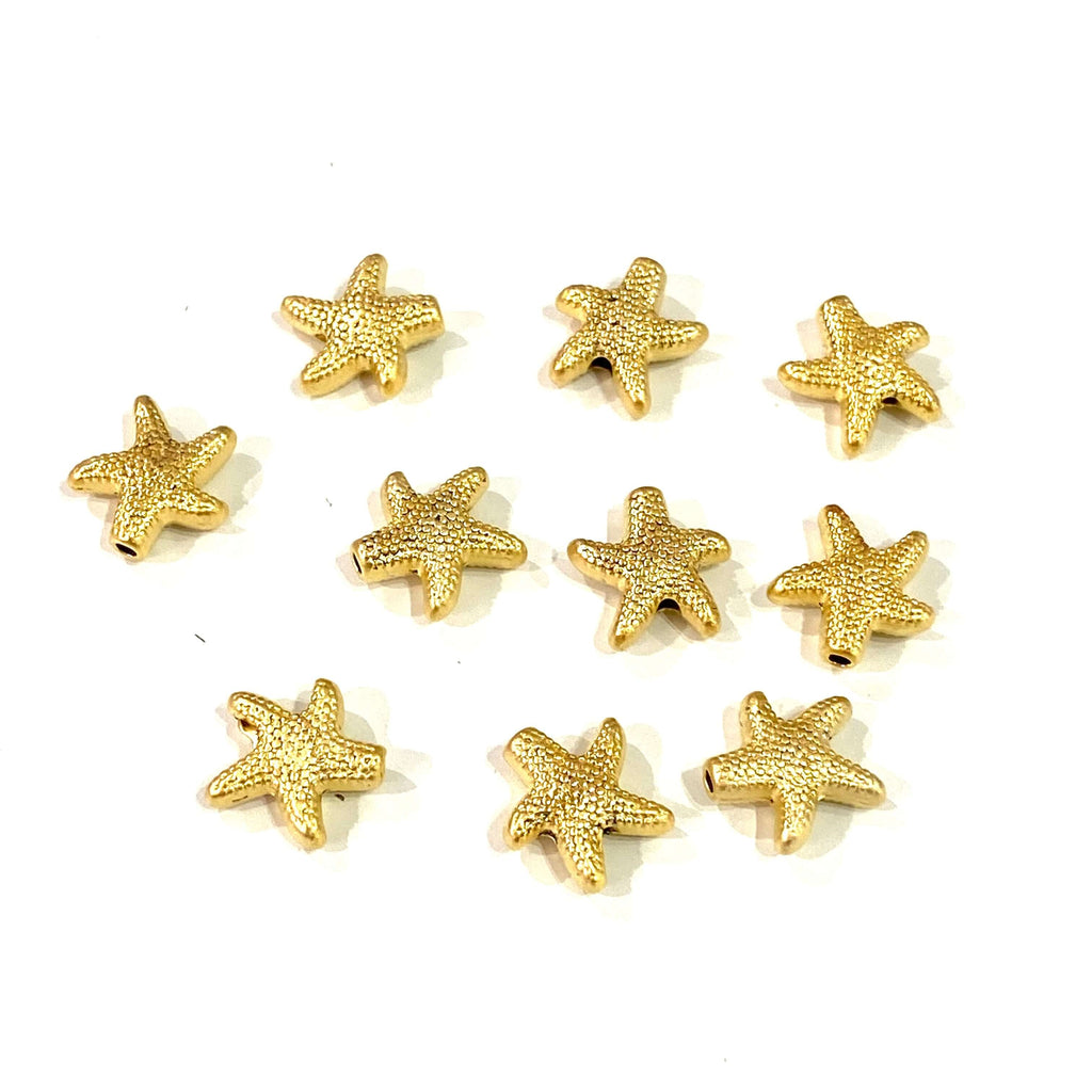 24Kt Matte Gold Plated Starfish Spacer Charms, Gold Starfish Charms, 10 Pcs in a Pack