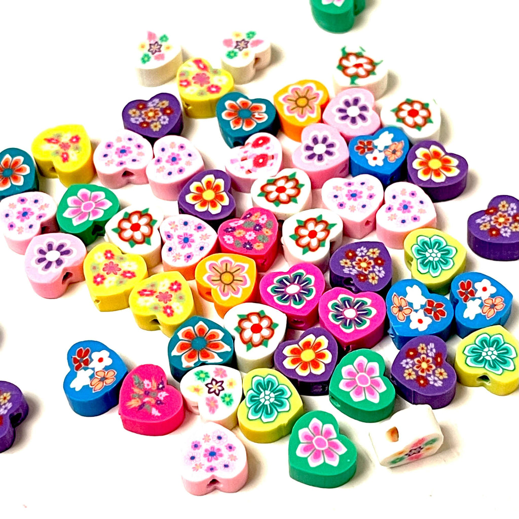 10mm Polymer Clay Heart Beads,10 Beads in a Pack