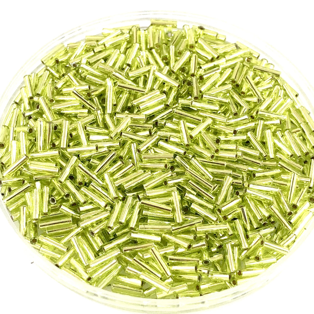 Miyuki Bugles size 6mm 0014 Chartreuse Silver Lined  10 grams. Chartreuse bugles 6mm, Chartreuse Silver Lined bugles 6mm