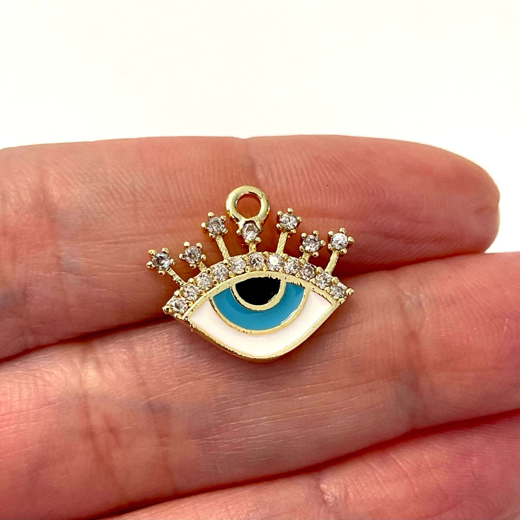 24Kt Gold Plated Enamelled Zirconia Eye Pendant