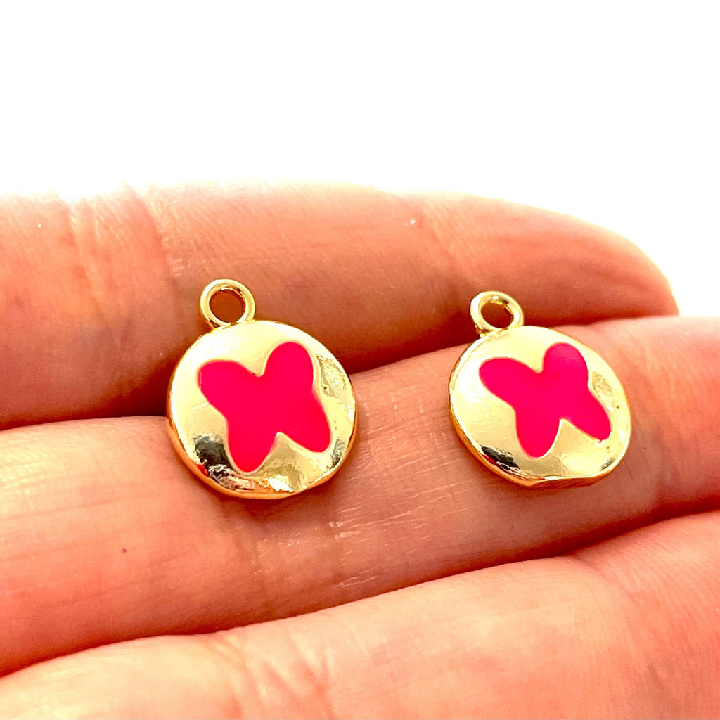 24Kt Gold Plated Brass Neon Pink Enamelled Butterfly Charms, 2 pcs in a pack