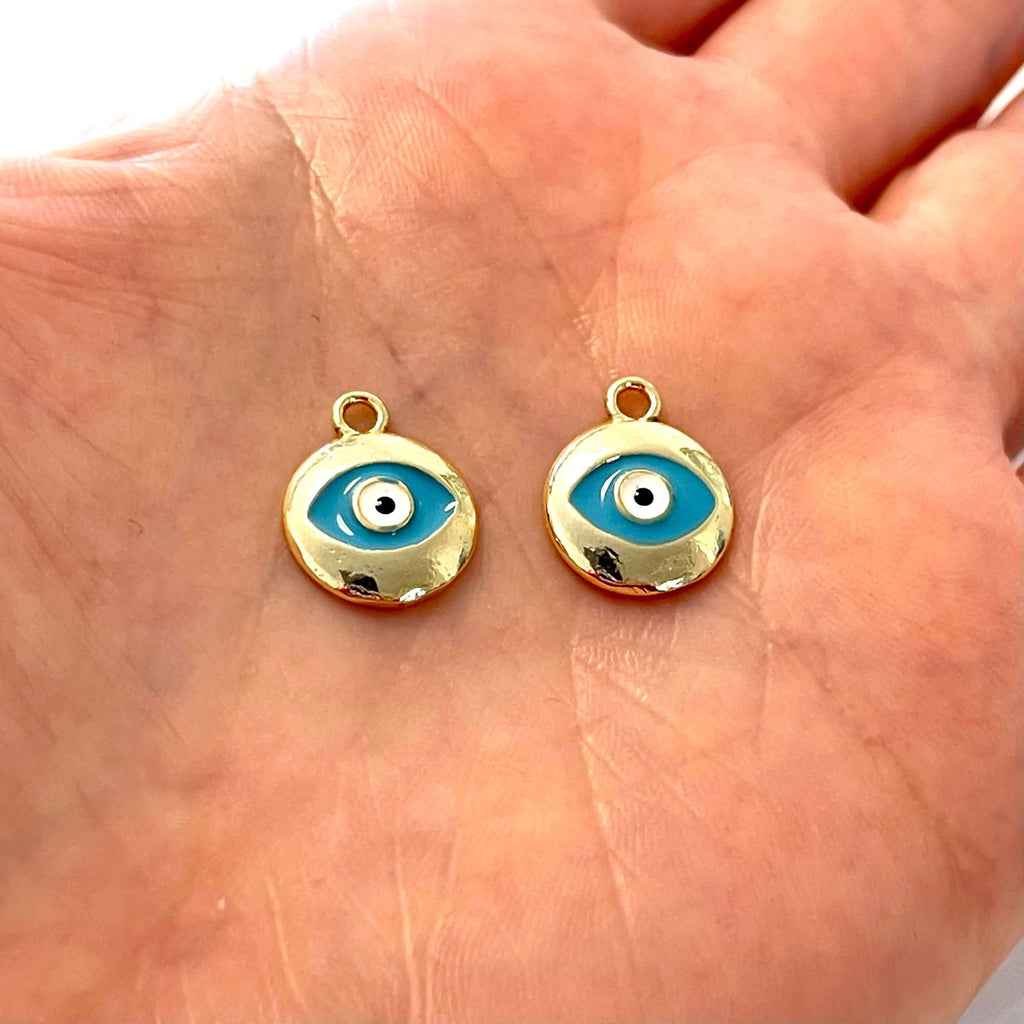 24Kt Gold Plated Brass Turquoise Enamelled Evil Eye Charms, 2 pcs in a pack