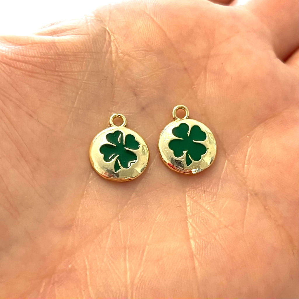 24Kt Gold Plated Brass Green Enamelled Clover Charms, 2 pcs in a pack