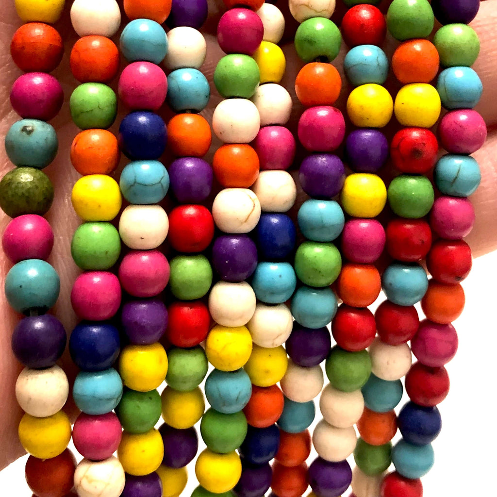 6mm Multicolor Howlite Beads, 65 Beads