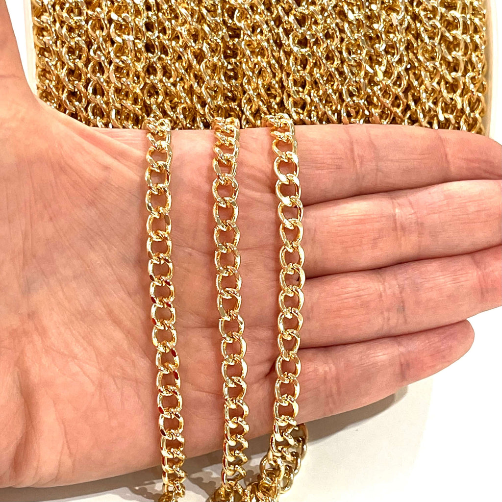 24Kt Shiny Gold Plated Chain, 6x8mm Gold Plated Chain,