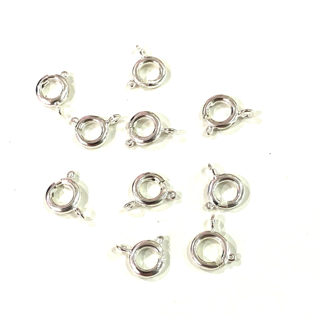 Bright Shiny Silver Plated Spring Ring Clasps, 10 Pcs in a pack