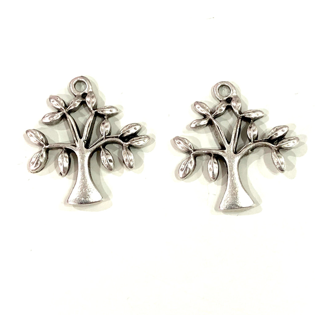 Antique Silver Plated Tree Charms, Silver Plated Tree Charms
