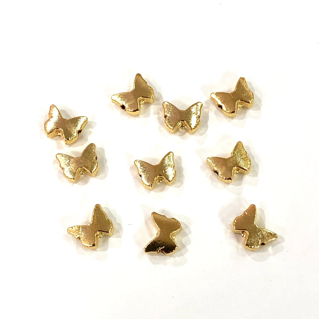 Butterfly  Gold Plated- Spacer Beads, Gold Spacer Balls, Gold Spacer Beads, 8x6 mm -10 Pieces in a pack, Jewellery Findings