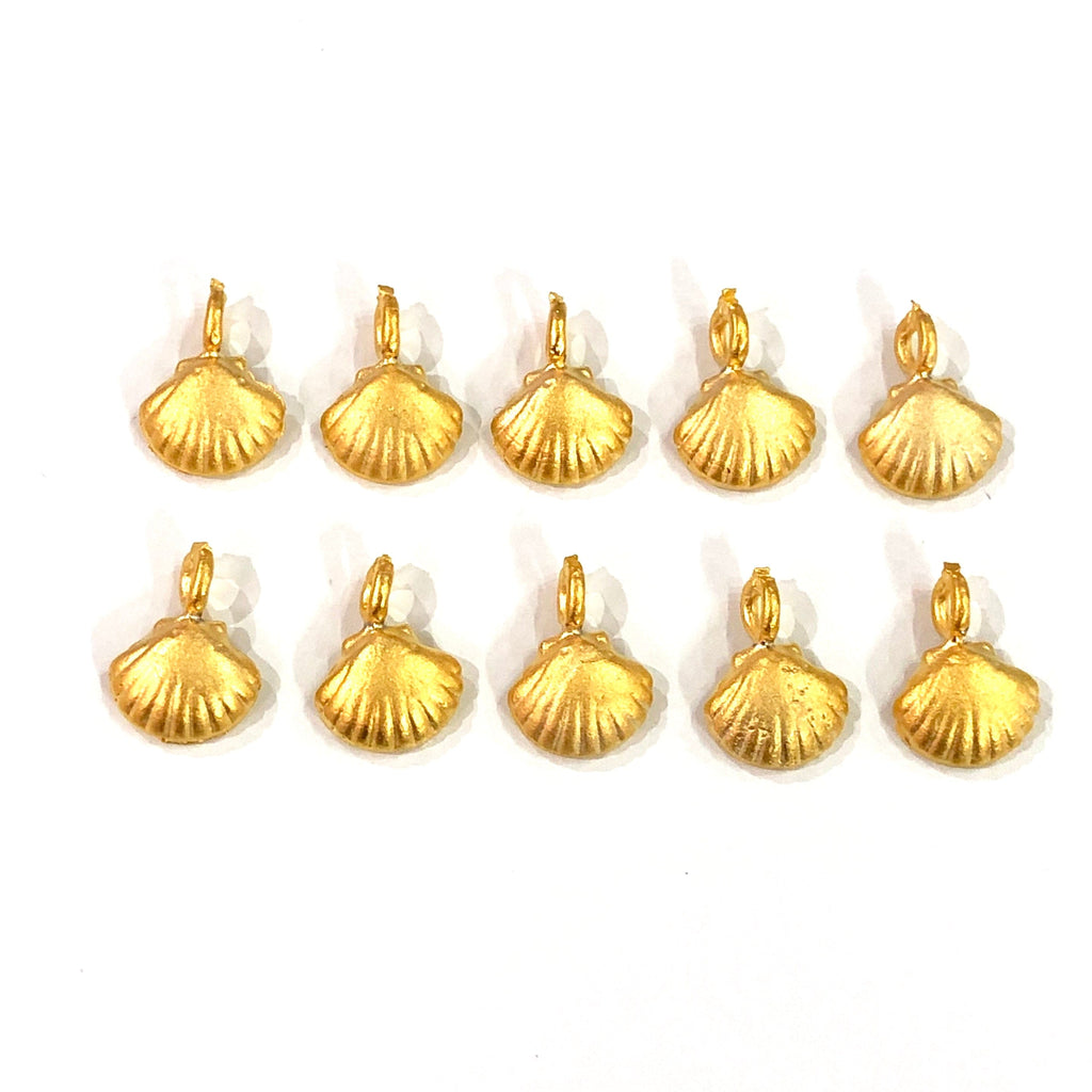 Oyster Charms 22K Gold Plated, 1cm ,10 pieces in a pack