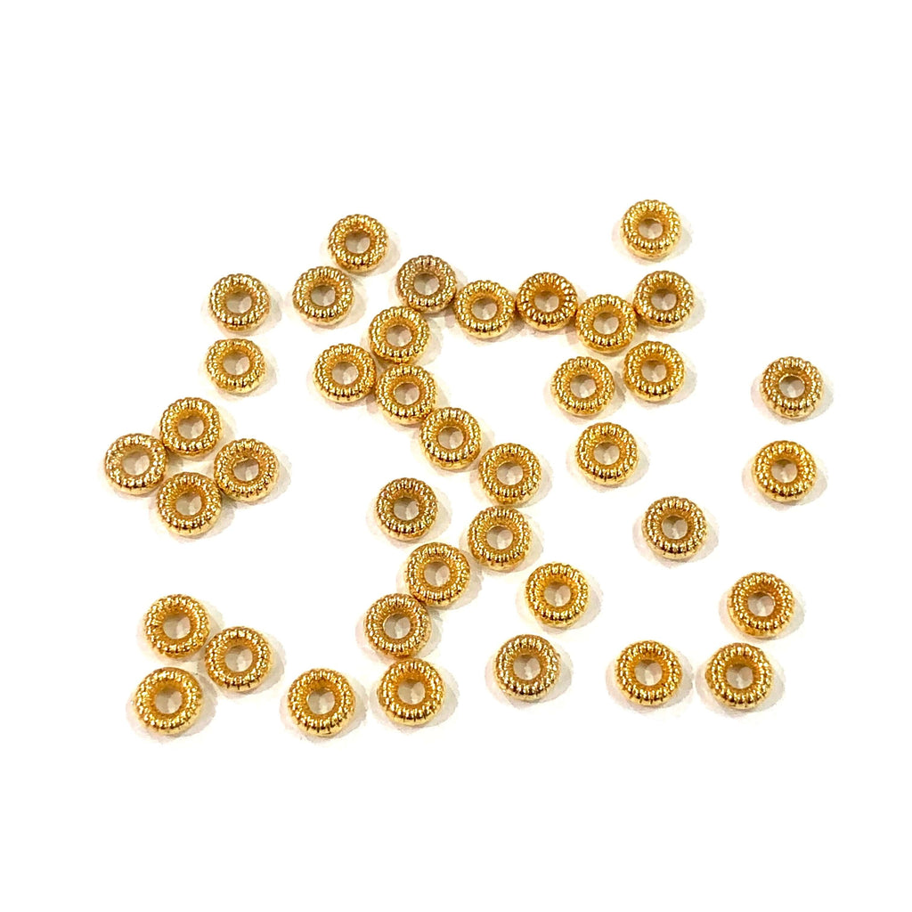50 pcs Gold Wheel Spacers, 4,5mm 22K Gold Plated Wheel Spacers,