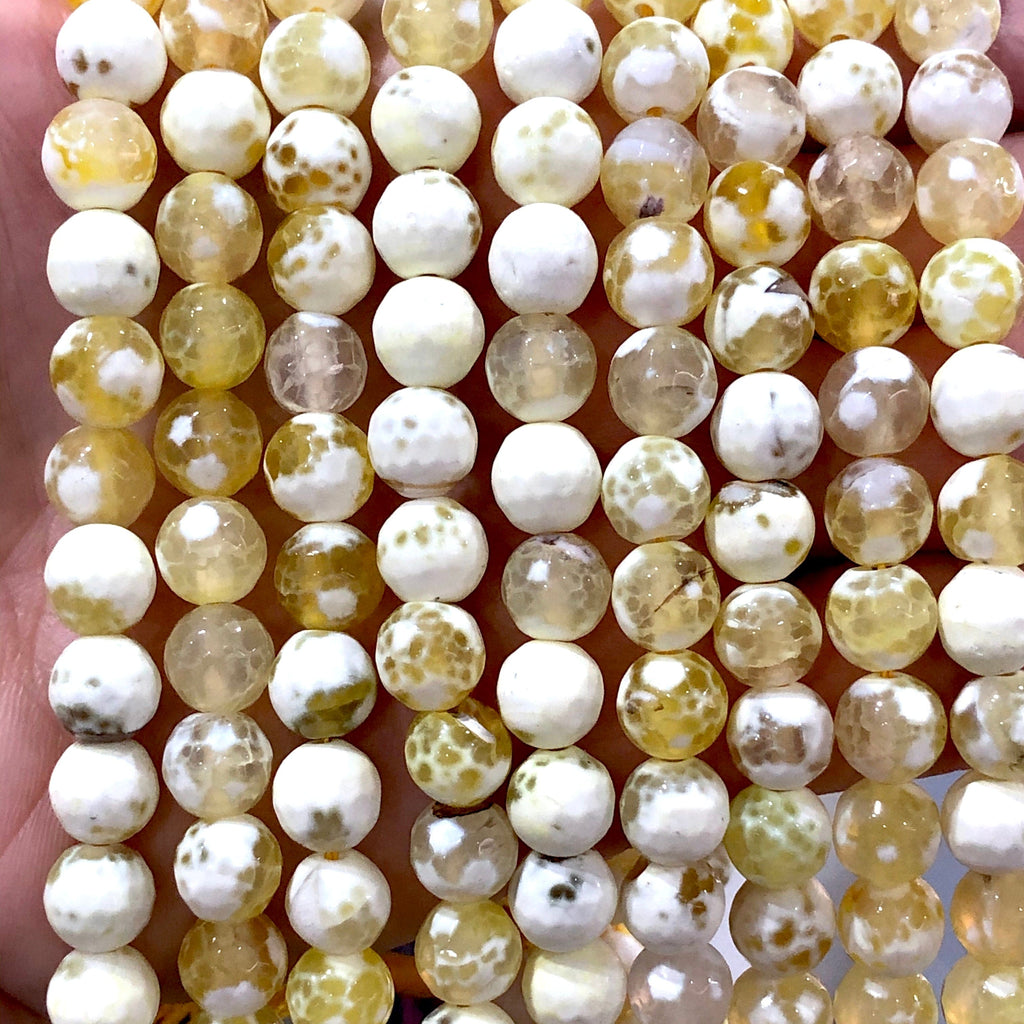 White spotted Yellow Agate faceted 8mm, 47 beads per strand
