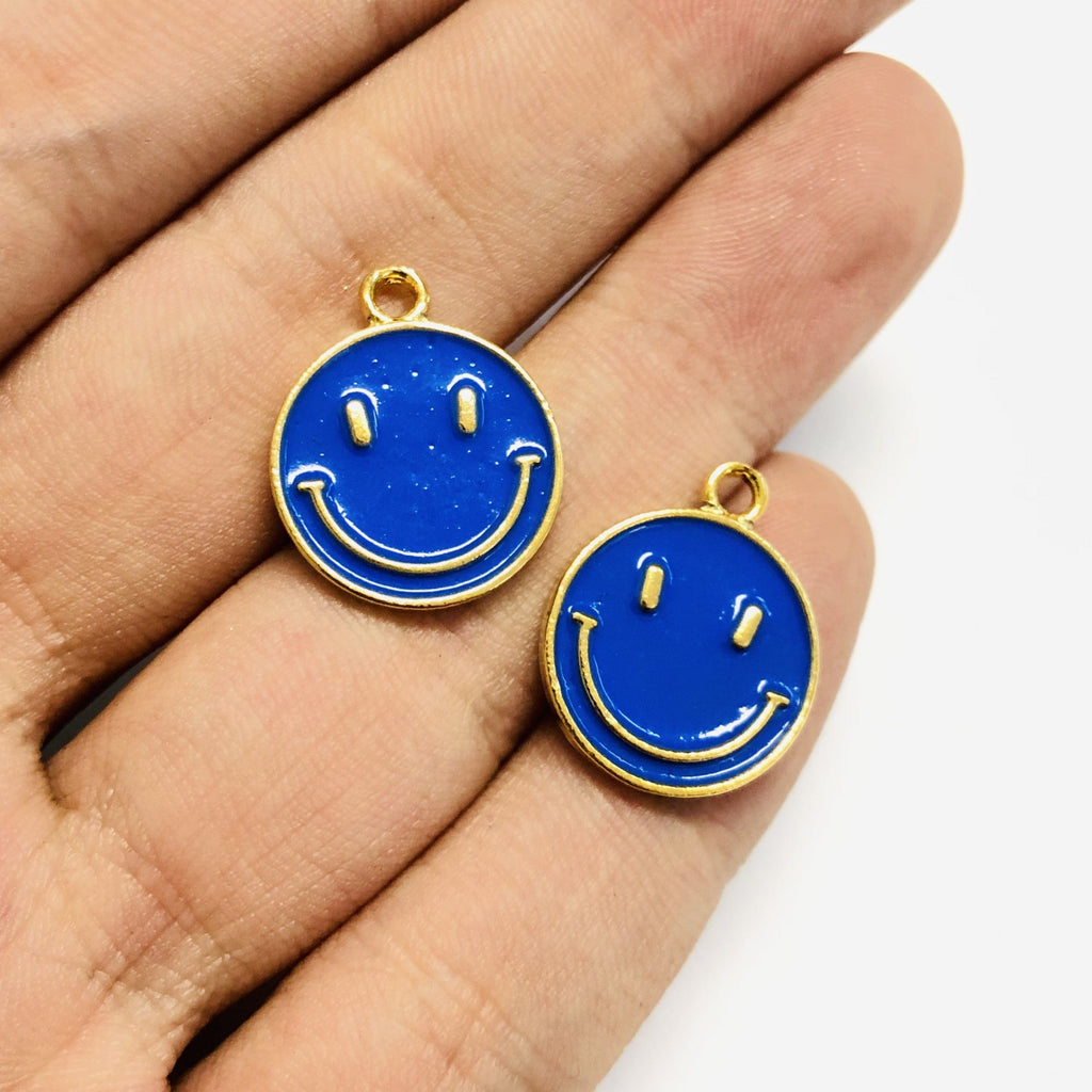 Smiley Face 24Kt Gold Plated Brass Charms, Smiley Face Enamelled Brass Charms, 3 pcs in a pack