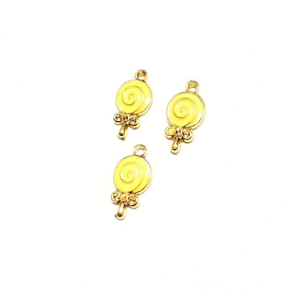24Kt Gold Plated Brass Lollipop Charms, 3 pcs in a pack