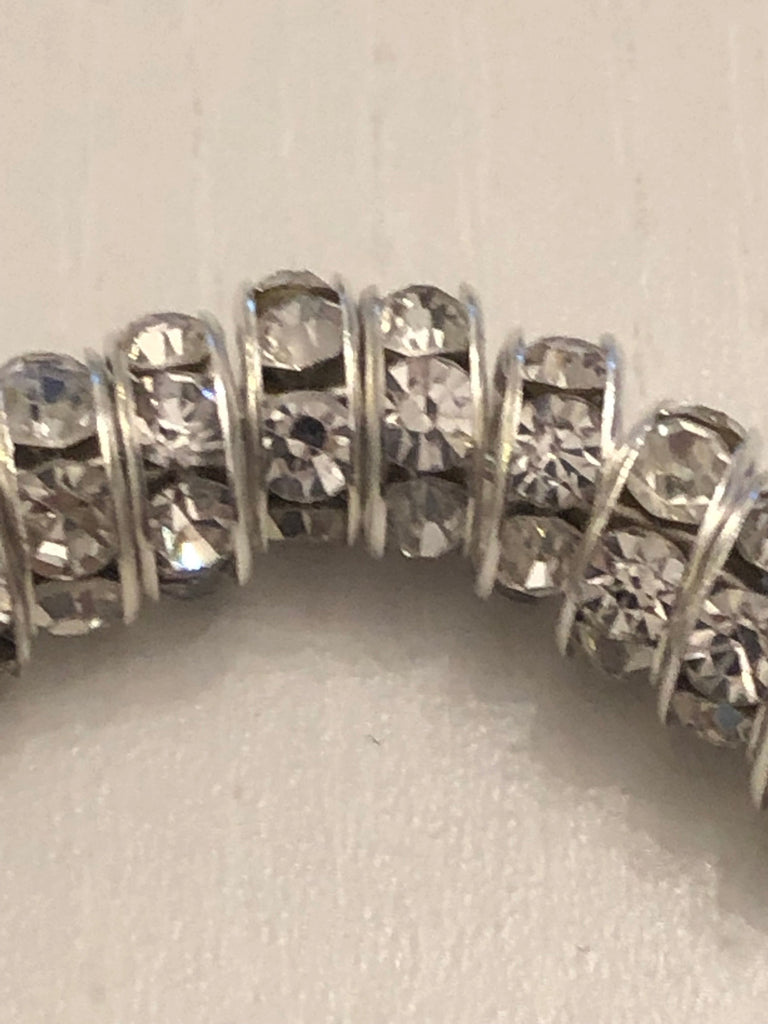 8mm Rondelle spacers beads, Silver and Rhinestone Bead Spacer Rondelles