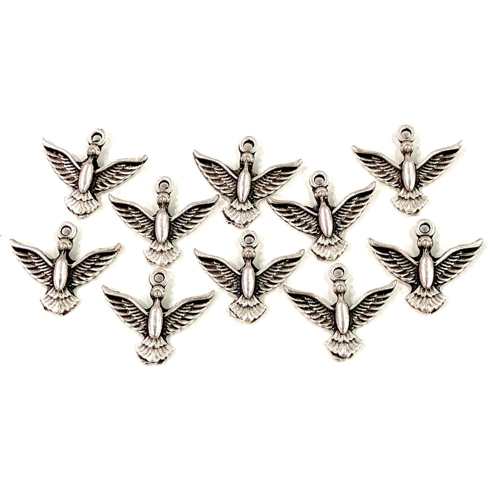 Silver Bird Charms,  Silver Plated Bird Charms, 10 pieces in a pack,