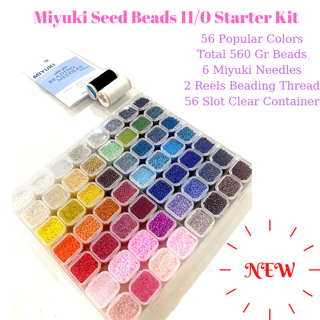 Miyuki Seed Beads Starter Set, 56 Colours 560 Gr 11/0 Round Seed Beads, Needle, Thread,Container