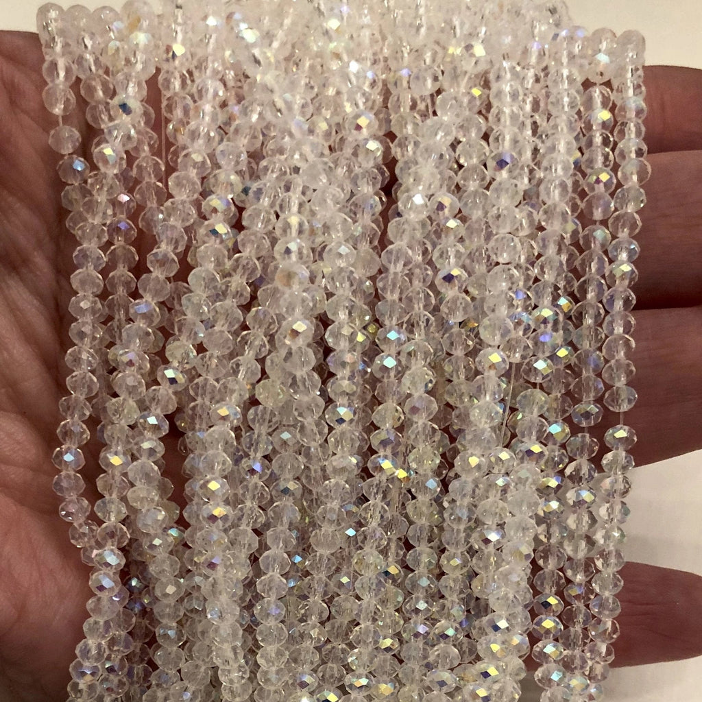 Crystal faceted rondelle - 150 pcs -3mm - full strand - PBC3C57, Crystal Beads,Beads, glass beads, beads crystal rondelle beads