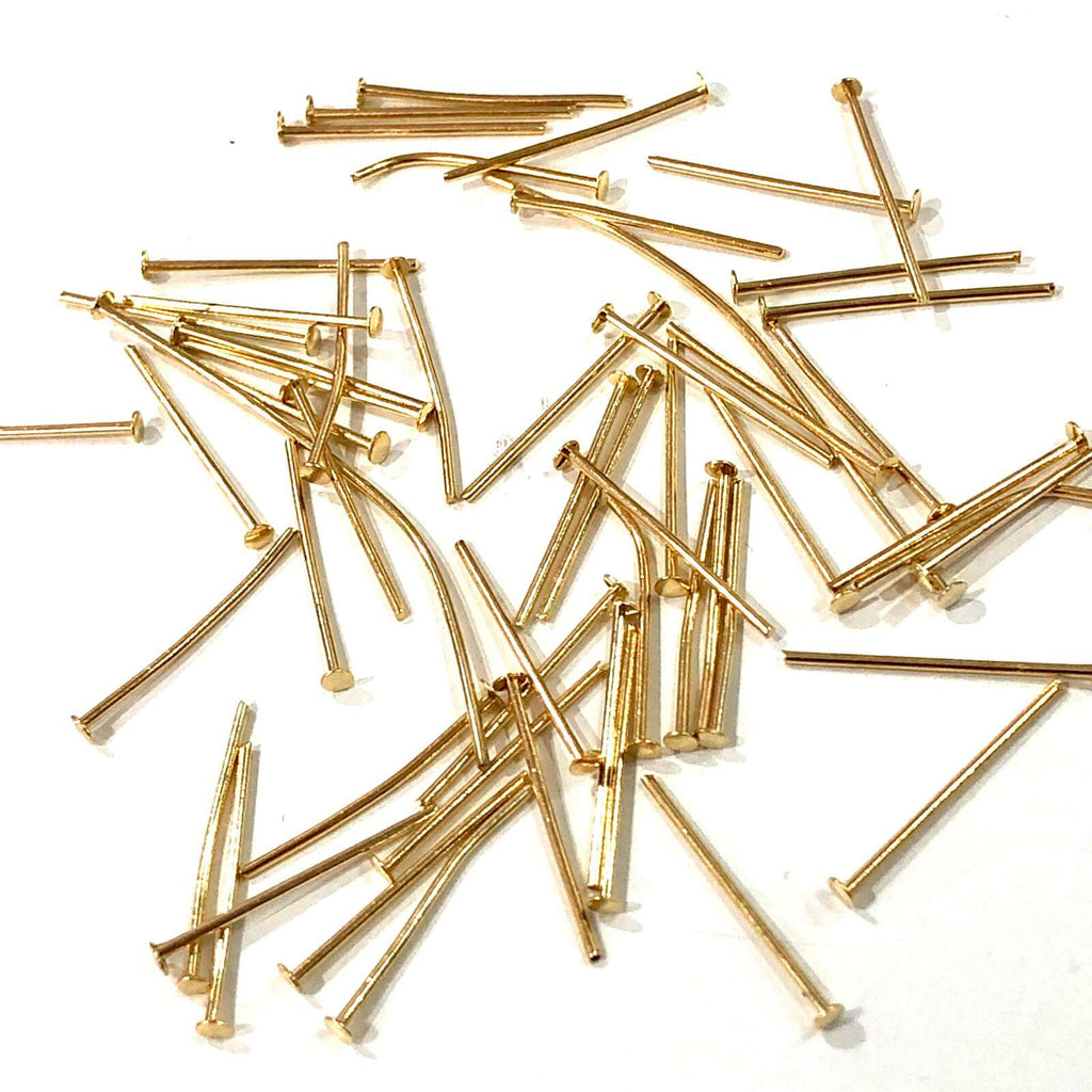 20mm 22Kt Gold Plated Brass Headpins, 0.8mm by 20mm, 20mm Brass  Head Pins