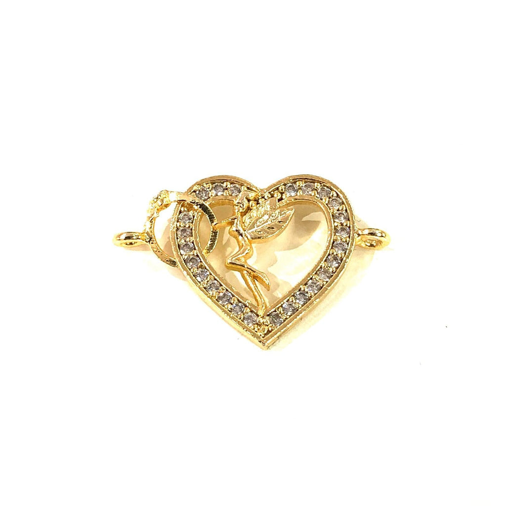 Heart&Tinkerbell Double Loop Gold Plated Charms, Bracelet Charms, Connector Charms