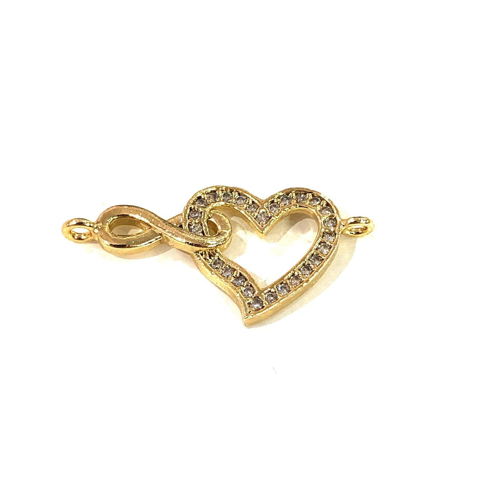 Heart&Infinity Double Loop Gold Plated Charms, Bracelet Charms, Connector Charms