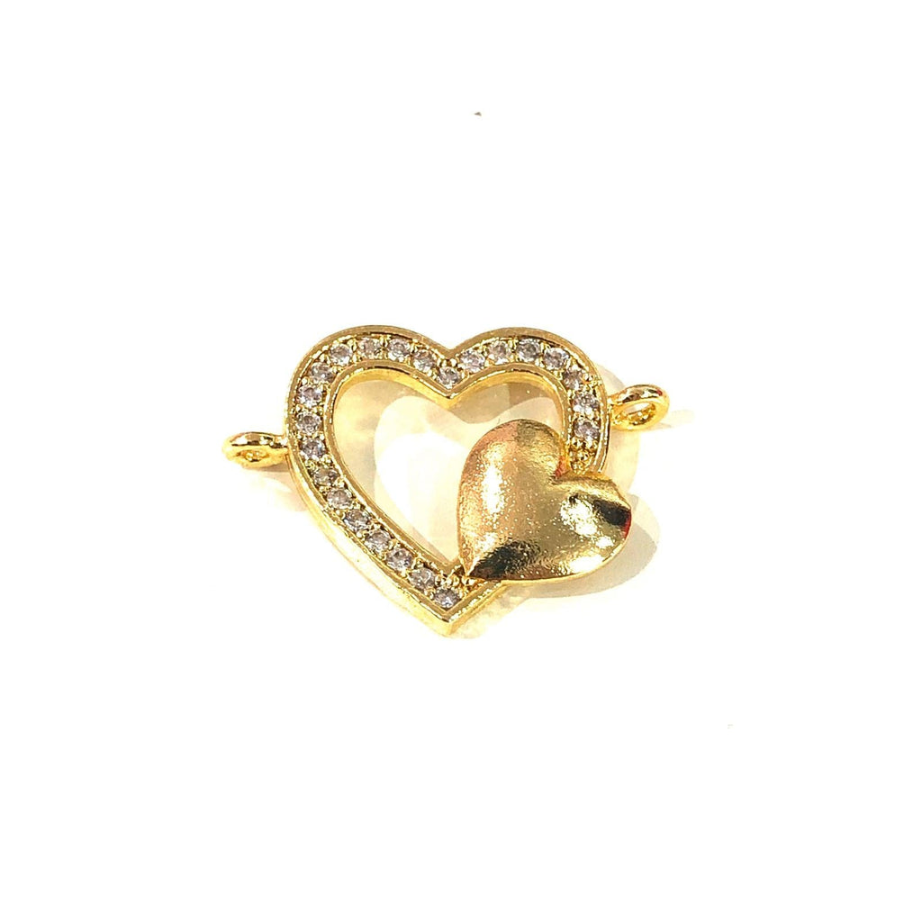 Heart Double Loop Gold Plated Charms, Bracelet Charms, Connector Charms