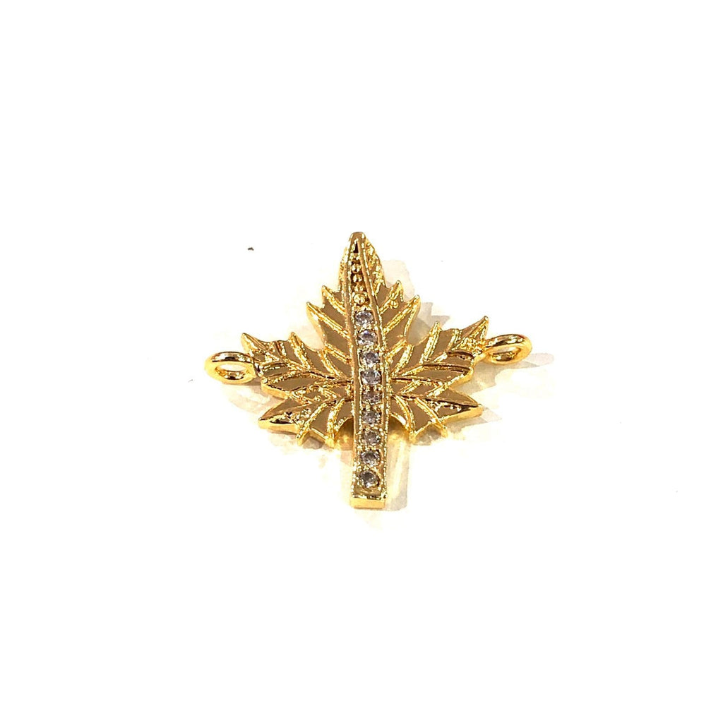 Leaf Double Loop Gold Plated Charms, Bracelet Charms, Connector Charms