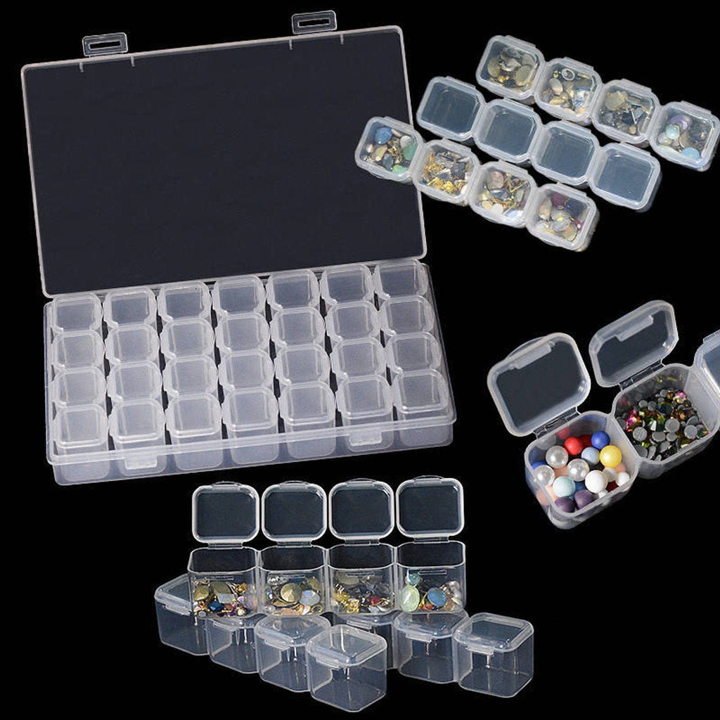 Bead Container, 28 Slots Clear Plastic Empty Storage Box, Nailart Rhinestone Tools, Jewelry Beads Display Storage Box, Case Organizer Holder