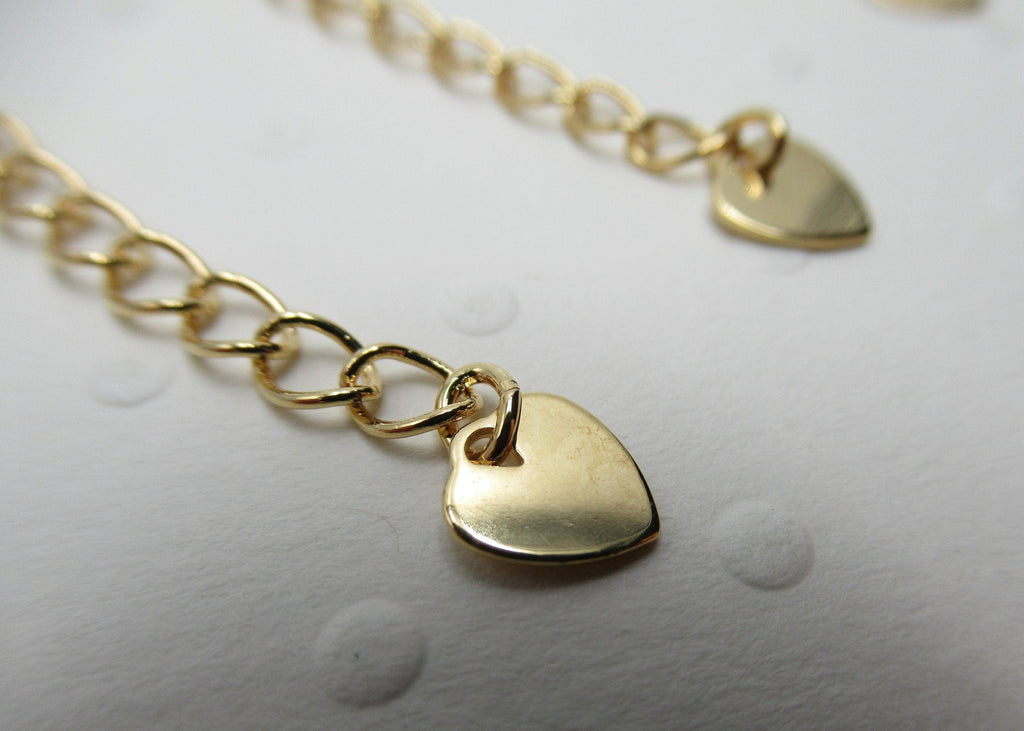 Gold Plated 2 Inch Chain Extender With Heart Charm