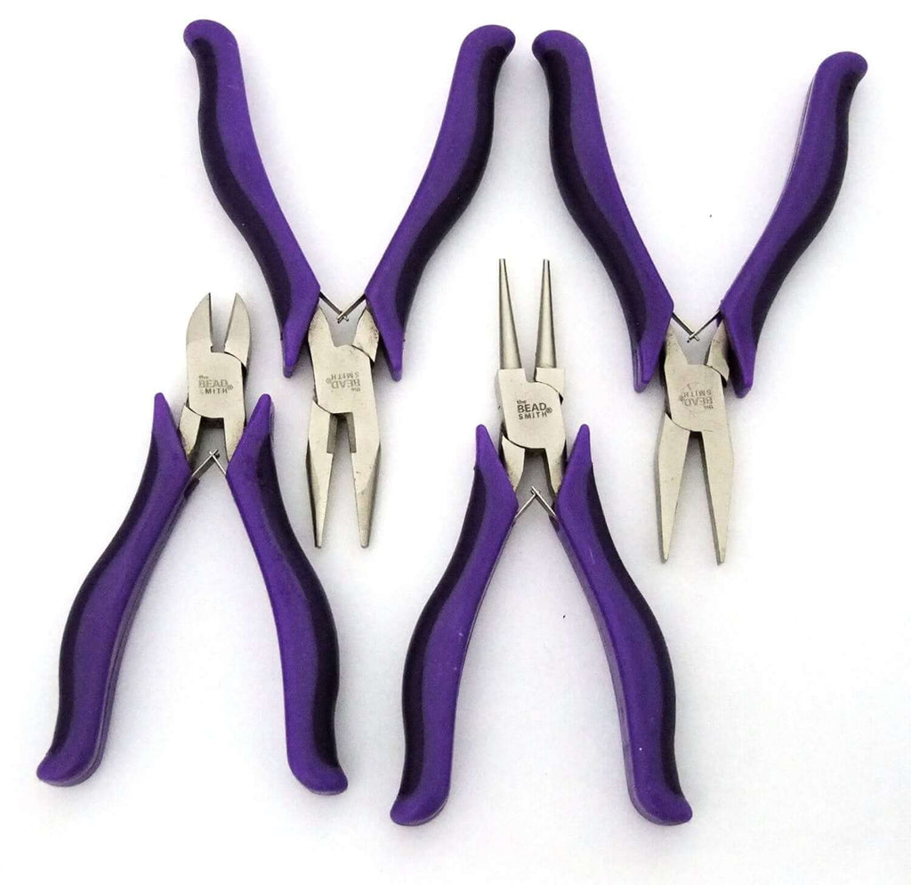 4 Piece Ergo Handle Plier Set With Purple Handles And Carrying Case