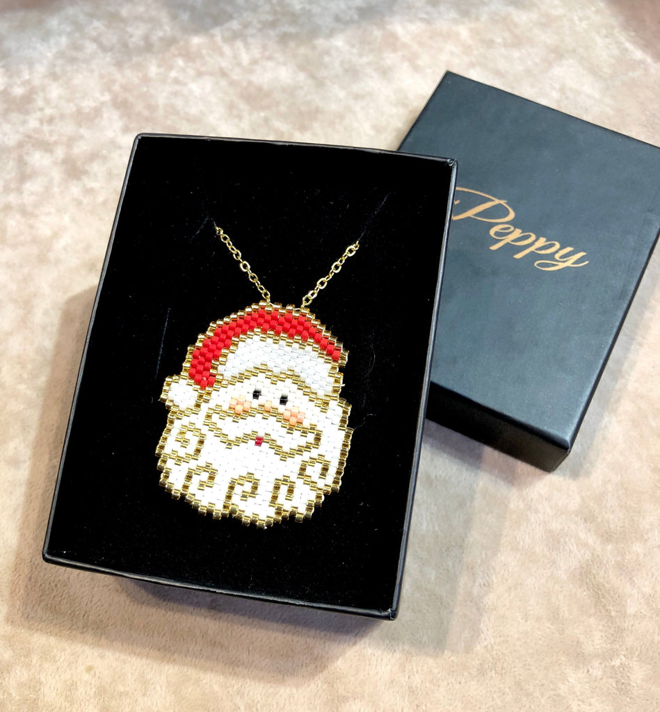 Father Christmas Pendant Necklace Hand Made, Santa Claus Pendant Necklace