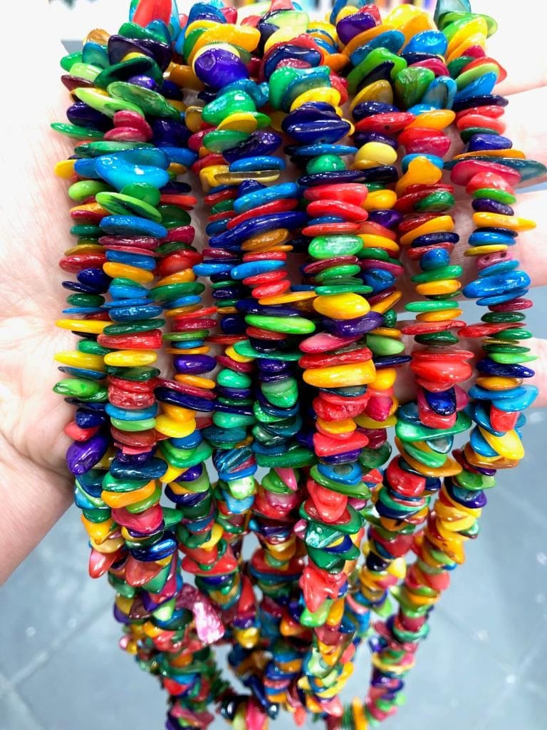 90 cm strand Colored Shell smooth stick beads, freeform shells, long strand 36''