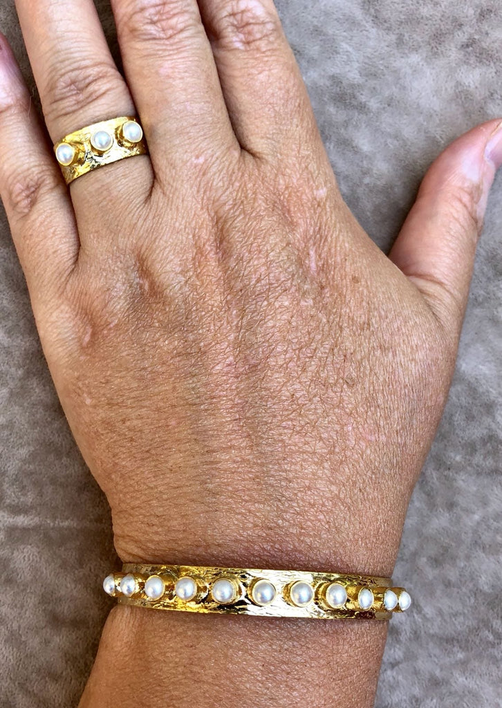 Handmade Hammered 22 Kt Gold Plated  Bracelet and Rings