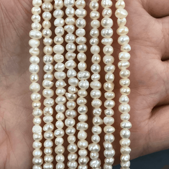 Creamy White Freshwater Pearls, 3x4mm, Medium Ivory Potato Pearls, 15 Inch Strand,Beads,Gemstone Beads,Natural Gemstone
